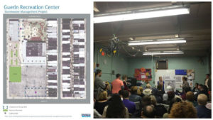 Left: Plans for Guerin Recreation Center. Right: A portion of the community meeting.