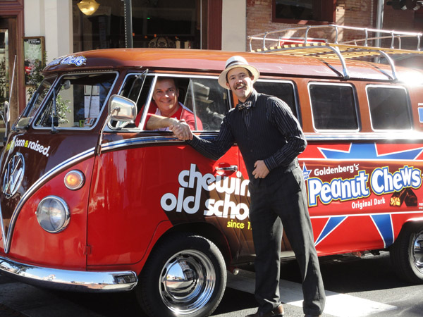 Eric Berley of Old City's Franklin Fountain with the 'newly' retro Peanut Chews bus