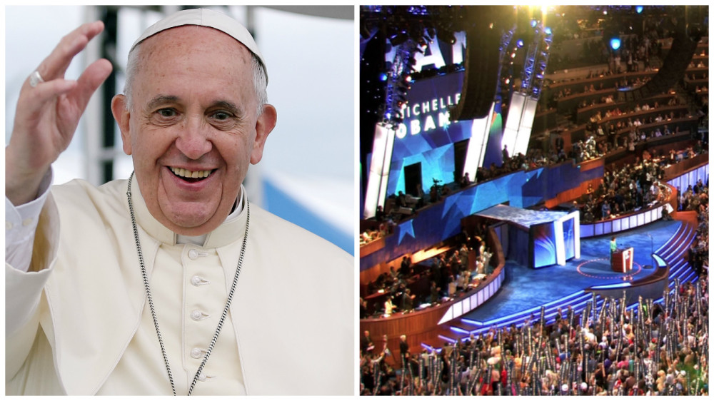 Left: Pope Francis Right: DNC