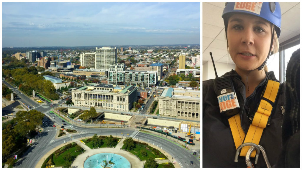 Left: The view from One Logan Square. Right: Me being totally sure of myself before rappelling down it...