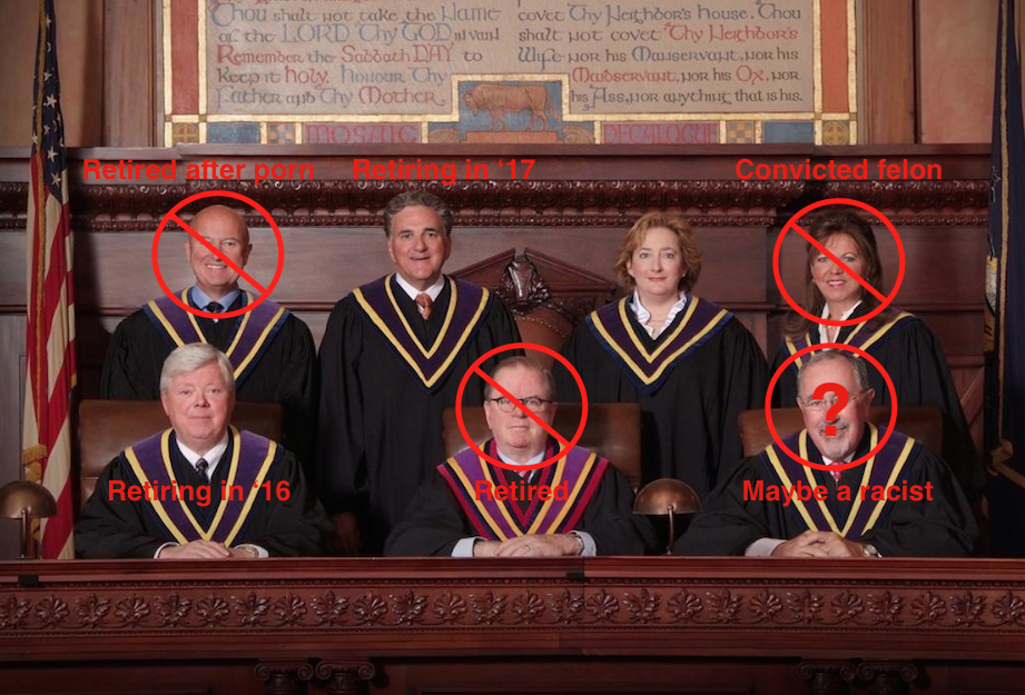 This photo of the PA Supreme Court is from 2012. Now, three of seven seats are open and three more will open in the next three years.