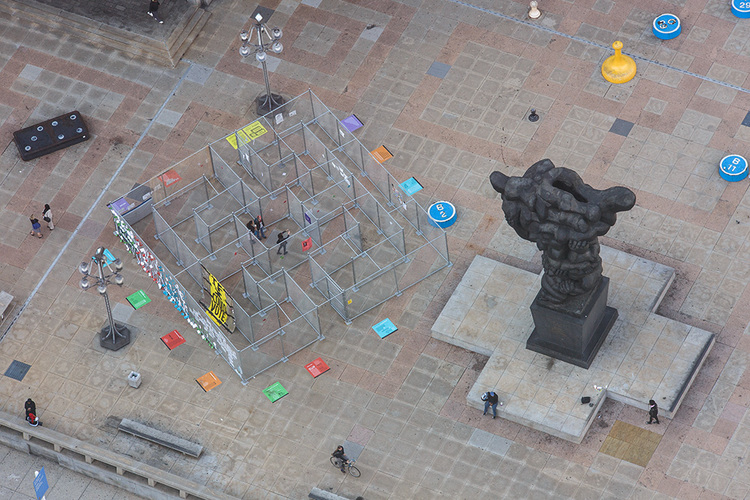"Sam Durant's ""Labyrinth"" at Thomas Paine Plaza symbolized the struggle of people caught in the criminal justice system."