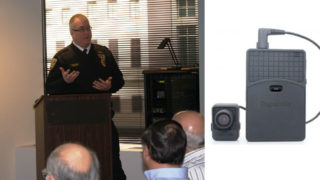 SEPTA Police Chief Thomas J. Nestel, left, and one of the body cameras in the program, right.