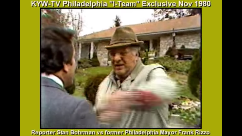 KYW reporter Stan Bohrman confronts former Mayor Frank Rizzo in what would become a viral video of the '80s over RIzzo's use of police officers to do personal chores.
