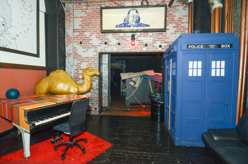 The front of the green room at the Electric Factory.