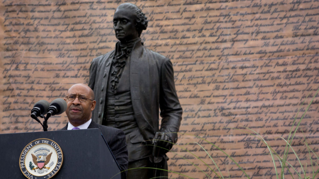 Philadelphia Mayor Michael Nutter at the Celebration of Freedom Ceremony at Independence Hall on July 4, 2014.