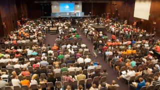 The crowd at the 2015 WordCamp Europe conference hosted in Seville.