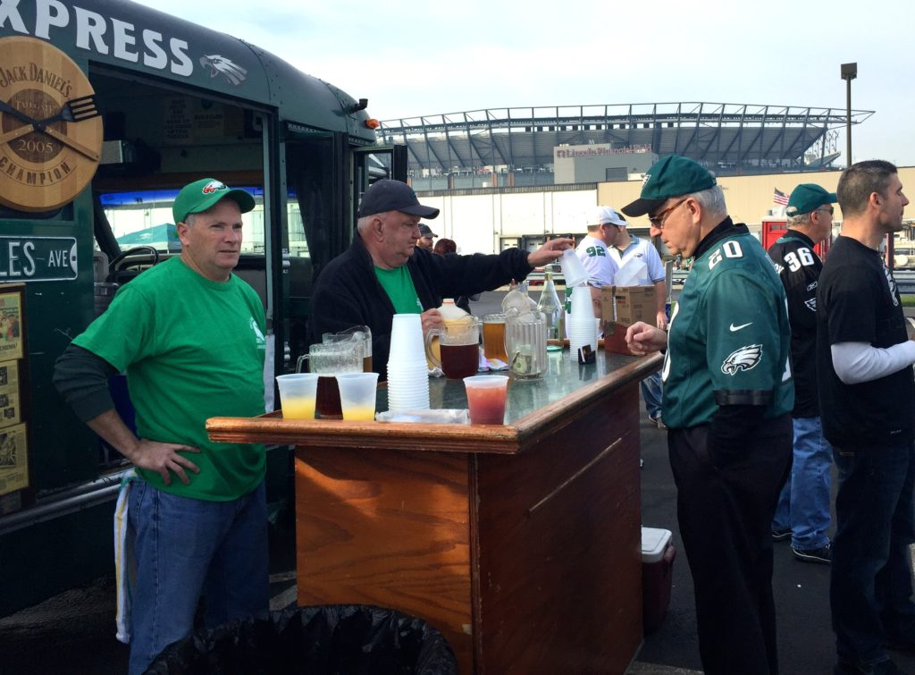 Bob Cavanaugh's tailgate, photographed during the 2016 season, has a full bar, extensive menu and a DJ. Don't expect yours to look like Bob's.