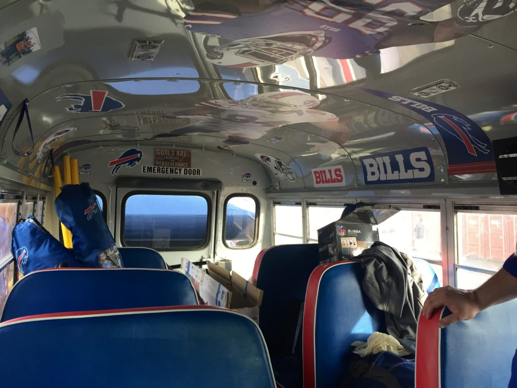 Inside Richard Muolo's decked-out Bills-style school bus.