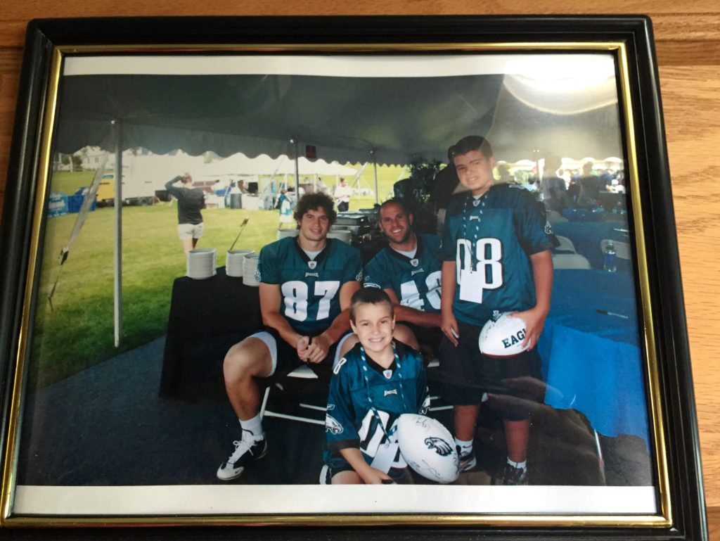 A photo of when tight end Brent Celek stopped by their tailgate during his rookie year.