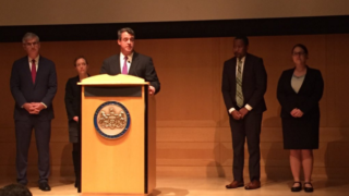 Doug Gansler is introduced during a press conference Tuesday.