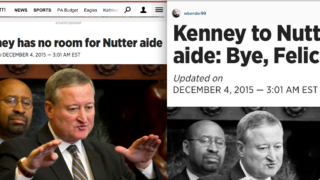 "The new headline, left; the original, saved ""for posterity,"" on the right."