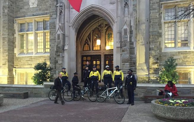 Temple Police standing outside the Board of Trustees meeting.