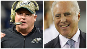 Former head coach Chip Kelly and owner Jeff Lurie.