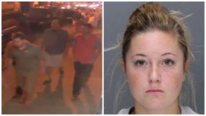 Left: Surveillance video from the night of the incident. Right: Kathryn Knott