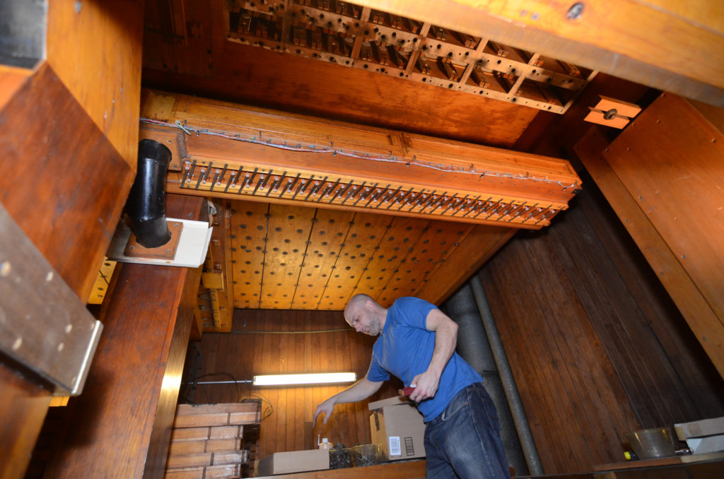 Employees who work with the organ daily are in the process of replacing more than 28,000 pneumatics on the organ.