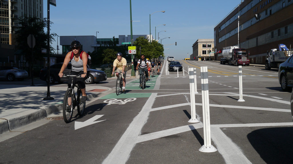 Above is a protected bike lane in Chicago.
