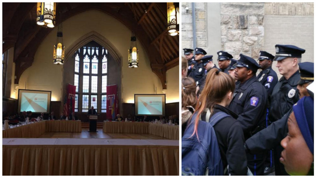 Left: Temple board meets Right: Students attempt to enter the meeting and are stopped by police
