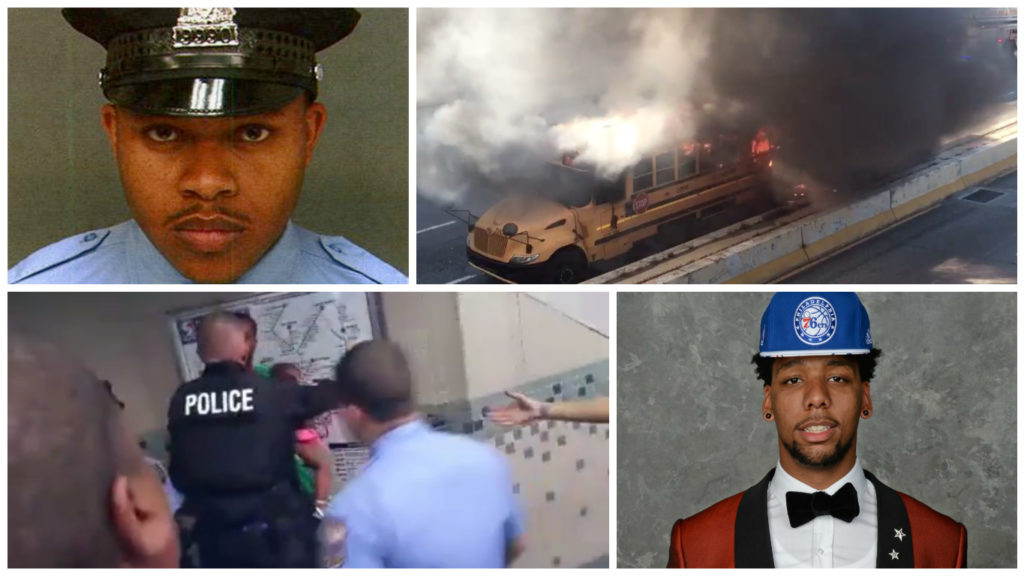 Top: Officer Robert Wilson and school bus fire. Bottom: Video of alleged fare evader and Sixer Jahlil Okafor.