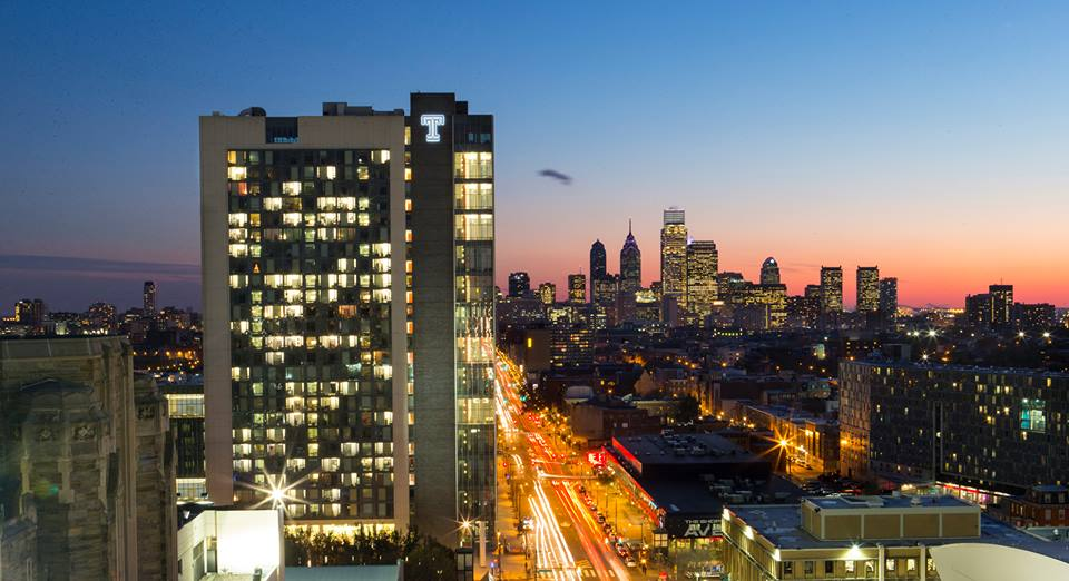 The cover photo Temple University uses for its Facebook page includes the Philadelphia skyline — visual messaging President Neil Theobald says is important.