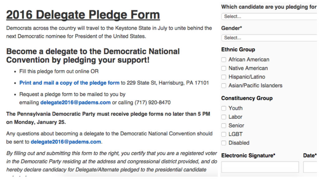 Part of the application to be a PA delegate to the DNC.