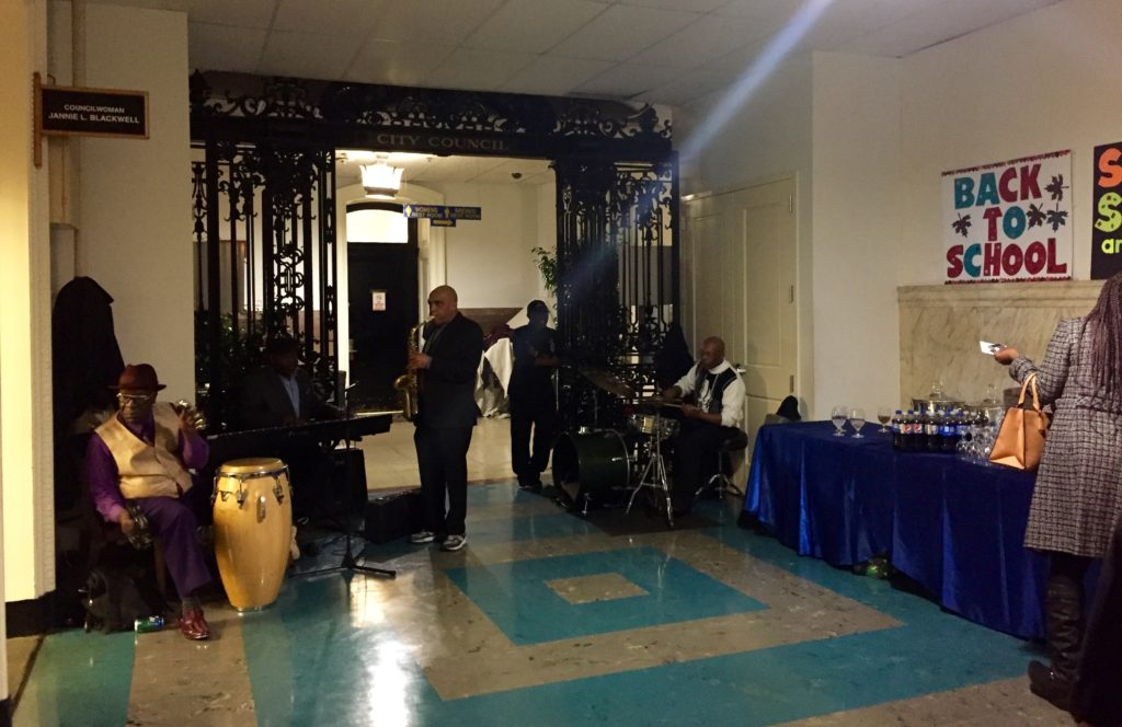 A live band plays out Councilwoman Jannie Blackwell's office in City Hall.