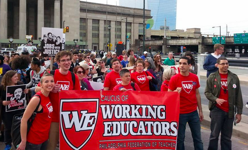 Members of the Caucus of Working Educators in April 2015.