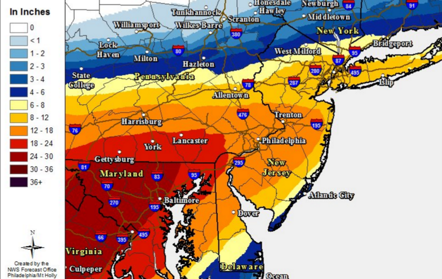 The latest snowfall predictions via the National Weather Service.