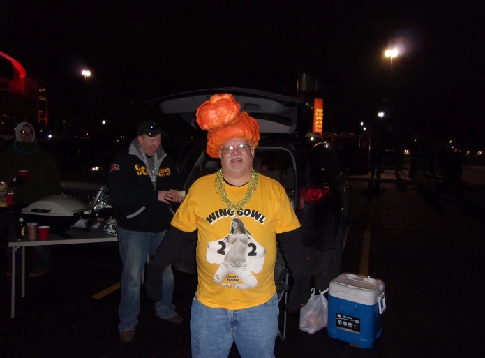Prepping for Wing Bowl in a parking lot.
