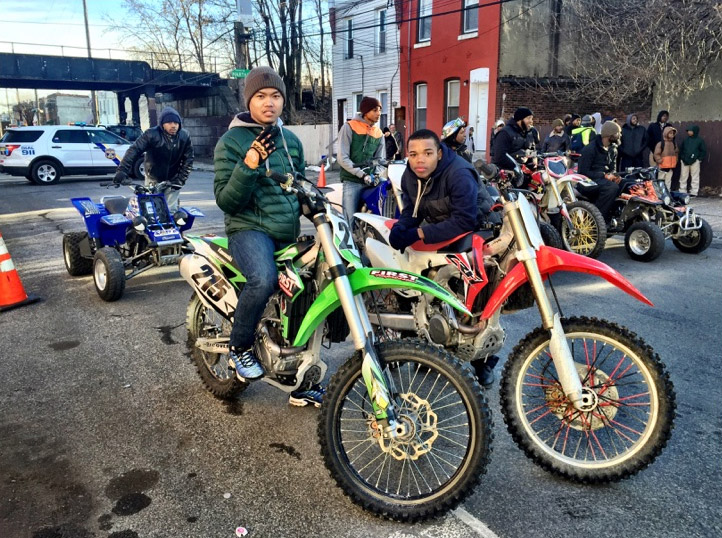 Noel and other riders on the set of 'Creed'