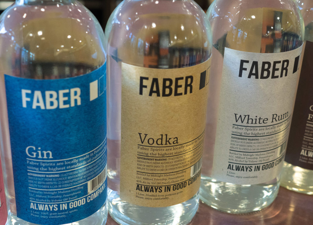 Gin, vodka and white rum are the core Faber products