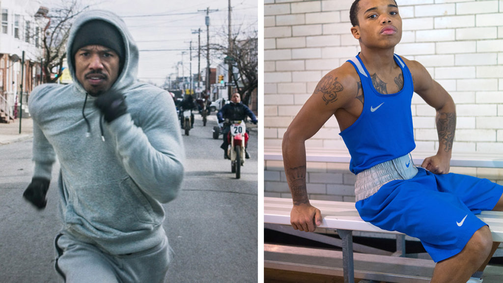 Marquise Noel, leading the dirt bike crew behind Michael B. Jordan in 'Creed,' and posing in his Kingsessing boxing gym