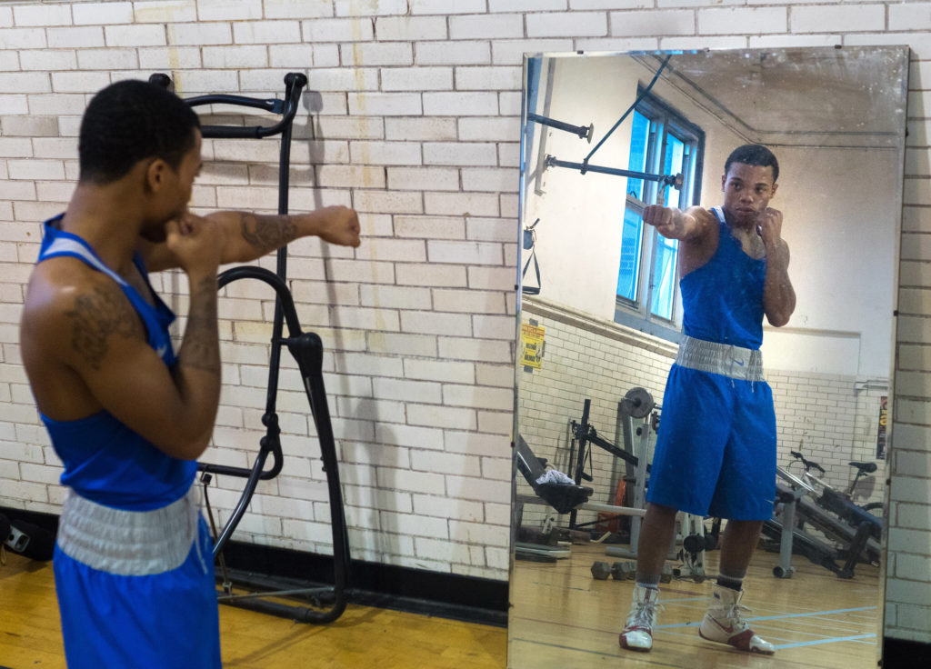 Marquise Noel at the Kingsessing Rec Center's boxing gym