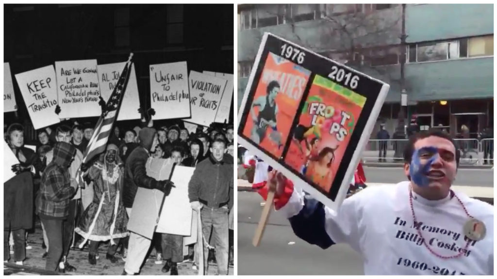 Left: Mummers protest a ban on the use of blackface in the 1960s. Right: A man caught on camera screaming obscenities about gay people.