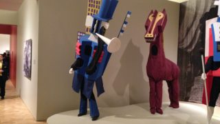From the exhibit: Reproduced costumes, designed by Picasso, from the ballet 'Parade.'