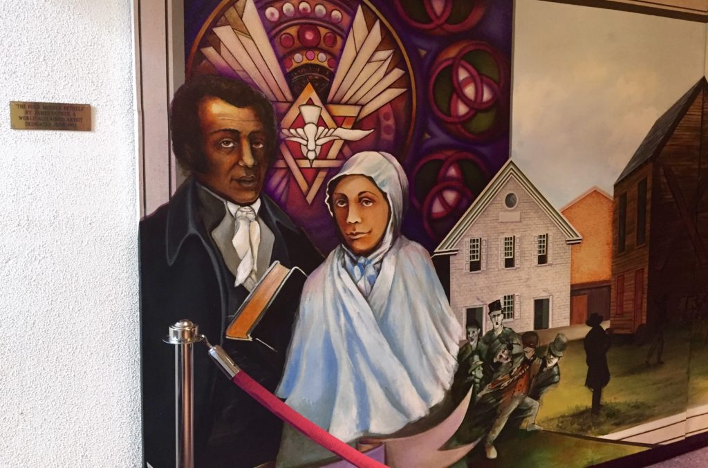A mural currently in the Mother Bethel AME church depicting Richard Allen and his wife Sarah.