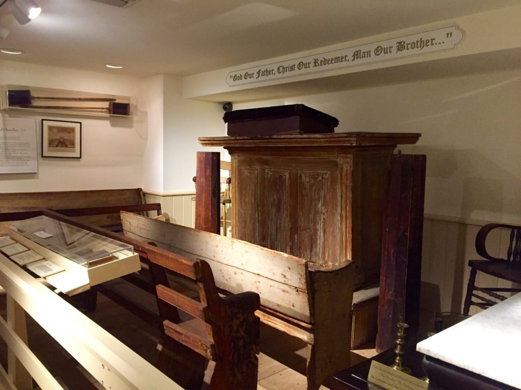 Some of the original furniture used in the first AME church was saved and is still at Mother Bethel today.