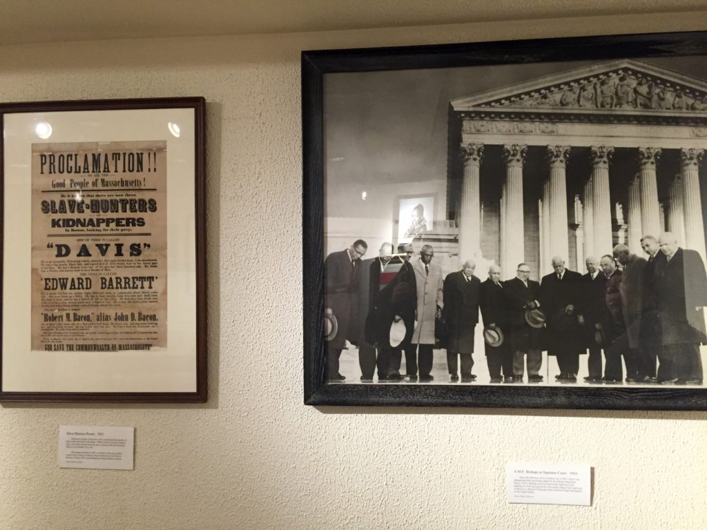 The poster on the left was a common occurrence to let escaped slaves know that slave hunters were in town. The left shows AME leaders at the Supreme Court during Brown v. Board of Education.