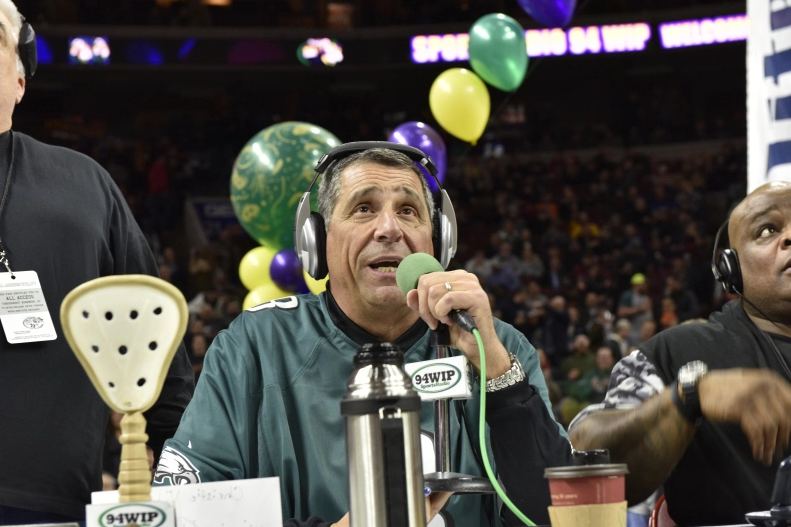 Angelo Cataldi, a 94WIP Morning Show host, talks at Wing Bowl 23 last year.