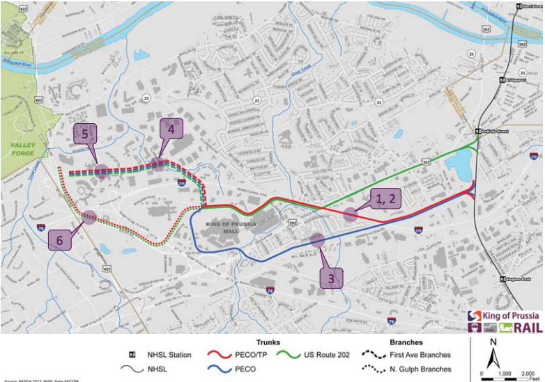 The proposed routes of the KOP extension.