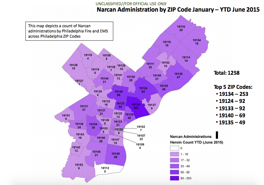 Administration of Narcan by EMS officials in the first half of 2015.