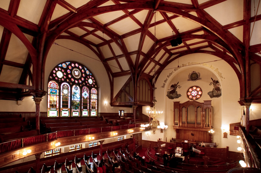 The sanctuary of Mother Bethel AME church, located at 6th and Lombard streets.