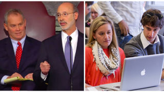 Left: Speaker of the House Mike Turzai and PA Gov. Tom Wolf Right: Temple University students