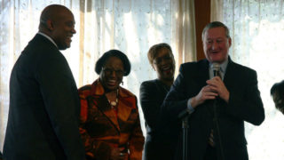 Dwight Evans, left, and Jim Kenney, with microphone.