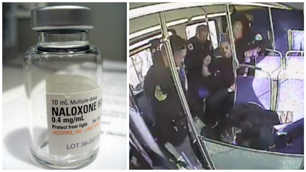 Left: Naloxone, commonly referred to as Narcan, is an antidote for opioid overdose. Right: A man in Upper Darby is caught on a bus surveillance tape shooting heroin and overdosing. Police arrived moments later and revived him after administering Narcan.