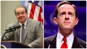 The late Supreme Court justice Antonin Scalia (left) and PA Sen. Pat Toomey, up for re-election in November.