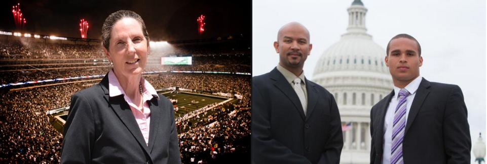 From left: Drexel Professor Ellen Staurowsky, National College Players Association leader Ramogi Huma and former Northwestern quarterback Kain Colter will speak at the College Athletes' Rights and Empowerment Conference.