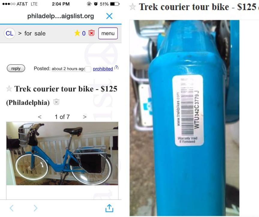 Philly police investigate Indego bike that hit Craigslist
