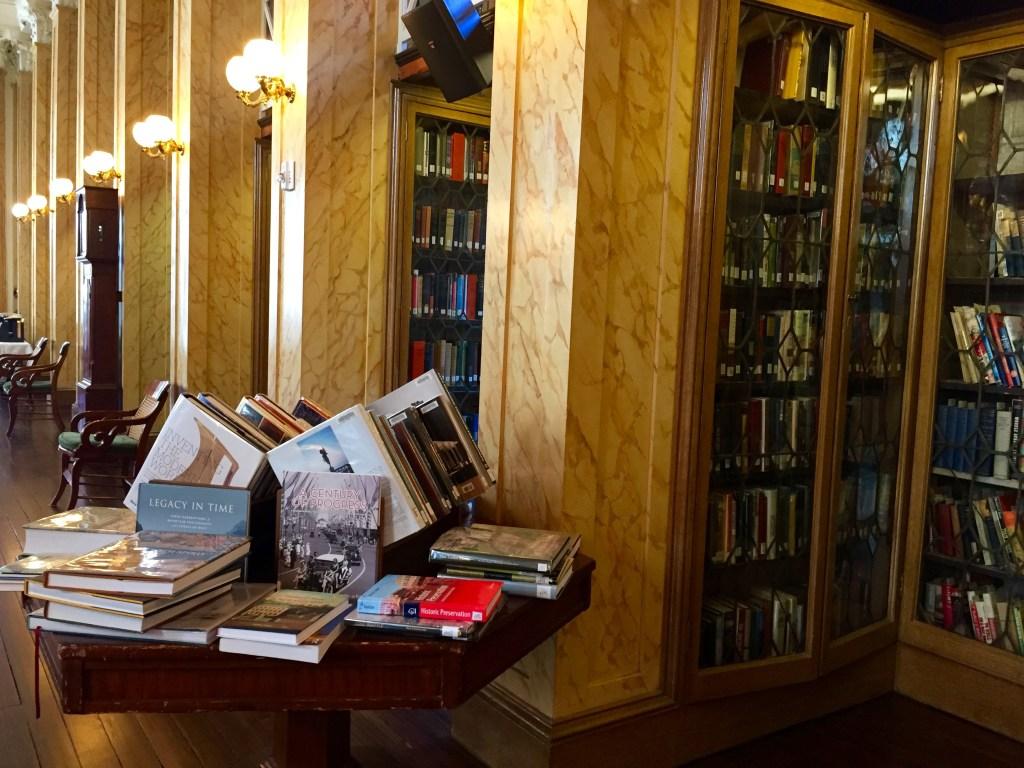 Books inside the reading room at The Athenaeum of Philadelphia.