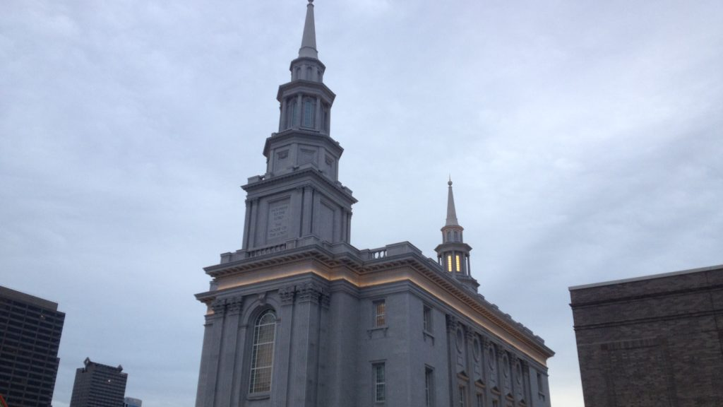 The Mormon Temple near 18th and Vine, set to be completed this summer.